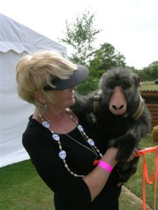 Mary Baulk with Baboo the Baboon from the Butterfly Theatre