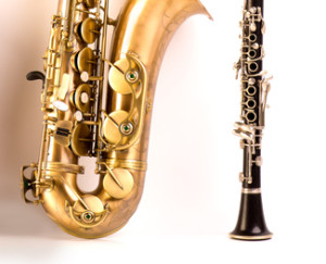 Sax tenor saxophone violin and clarinet in white