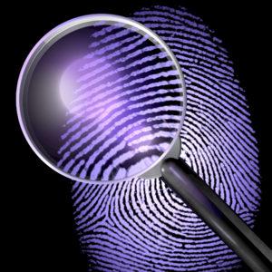 Lupe ber Fingerabdruck, UV-Licht